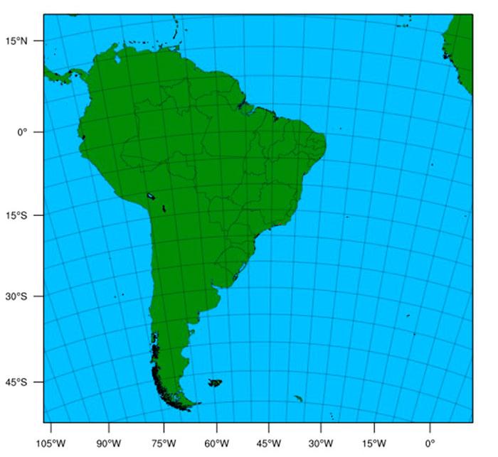 Limites da região abrangida pelo modelo numérico de previsão do tempo Weather Research and Forecasting (WRF) do CPTEC/INPE